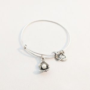 Alex and Ani Silver Oyster & Pearl Charm Bracelet